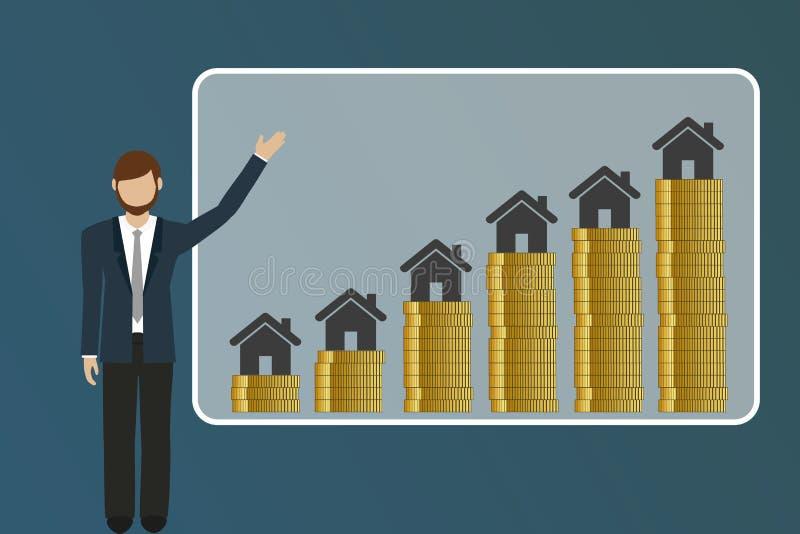 El hombre de negocios explica precios de levantamiento de las propiedades inmobiliarias libre illustration