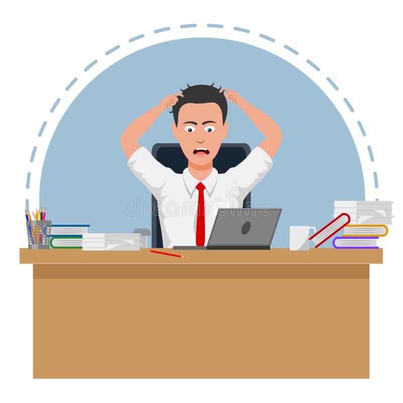 El hombre de negocios fallado y subrayado está cansado trabajar ilustración del vector
