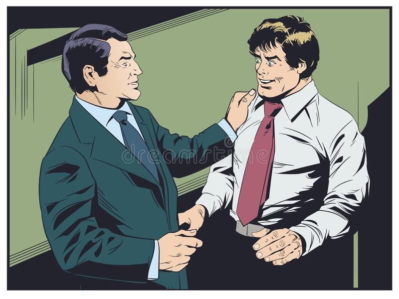 El hombre de negocios felicita al colega Boss elogia al subordinado libre illustration