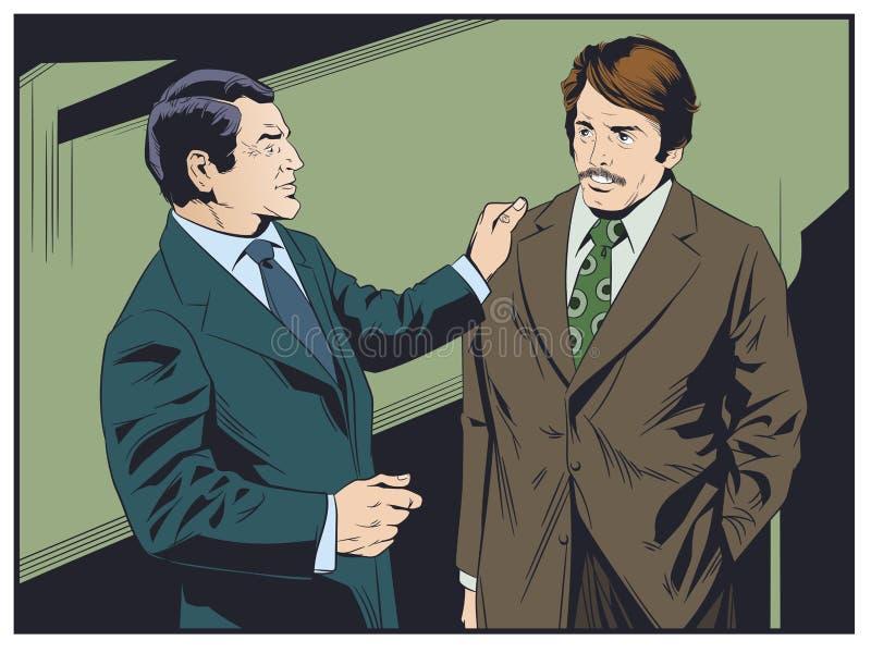 El hombre de negocios felicita al colega Boss elogia al subordinado stock de ilustración