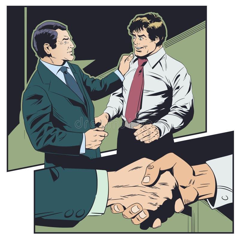 El hombre de negocios felicita al colega Boss elogia al subordinado ilustración del vector