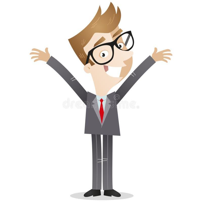 El hombre de negocios feliz con los brazos se abre stock de ilustración