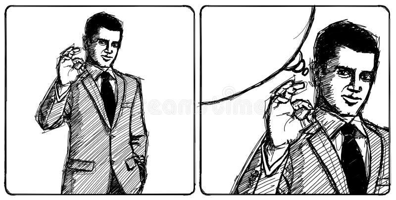 El hombre de negocios feliz del bosquejo en juego muestra OK libre illustration