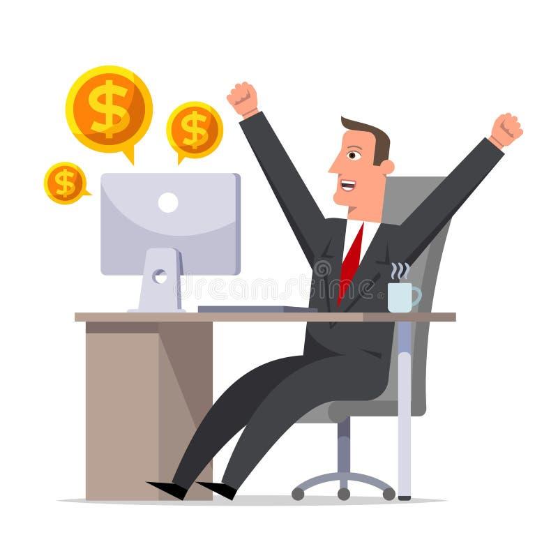 El hombre de negocios feliz disfruta en el beneficio Sitt del personaje de dibujos animados stock de ilustración