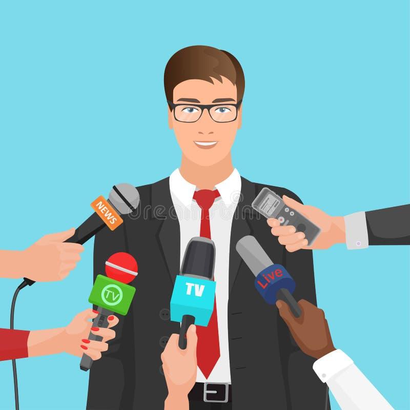El hombre de negocios feliz en traje se entrevistó con a varios periodistas con los micrófonos Noticias de negocio stock de ilustración