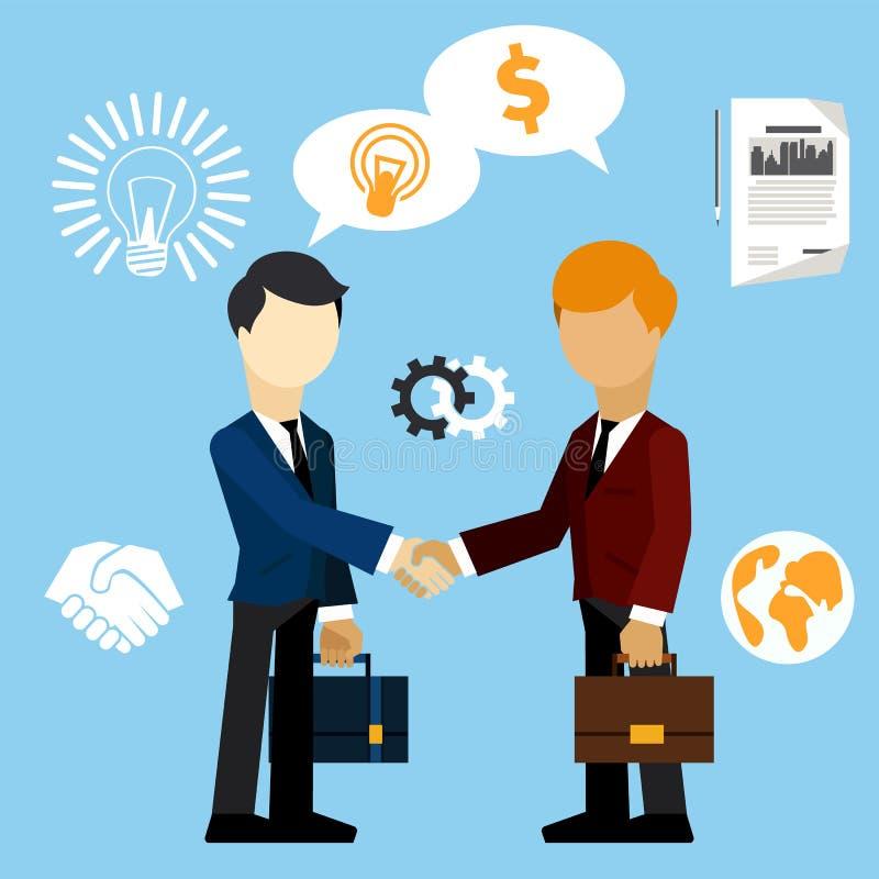 El hombre de negocios feliz hace el caso del intercambio del apretón de manos ilustración del vector