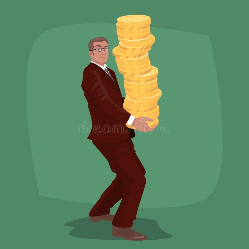 El hombre de negocios feliz lleva la pila grande de monedas de oro stock de ilustración