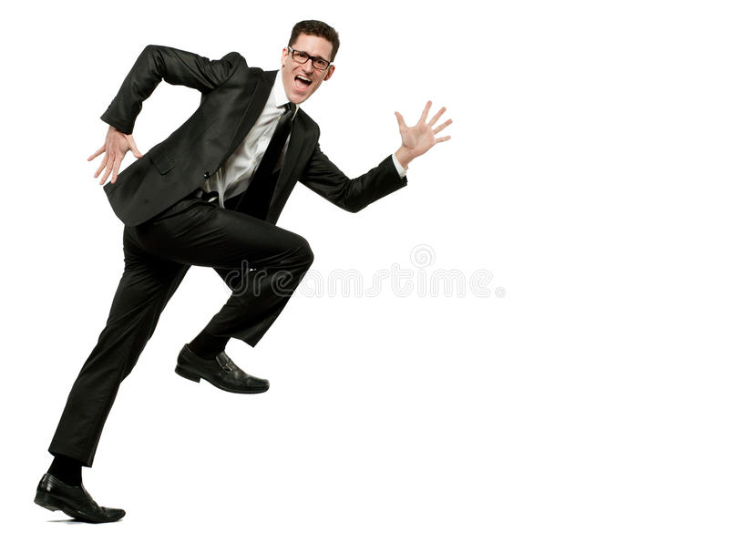 El hombre de negocios feliz se ejecuta en juego negro en blanco. fotografía de archivo