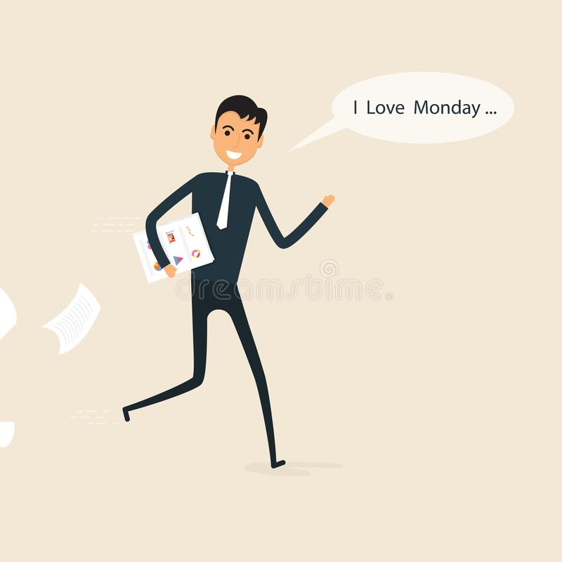 El hombre de negocios feliz y los informes en una su mano con I aman lunes i libre illustration