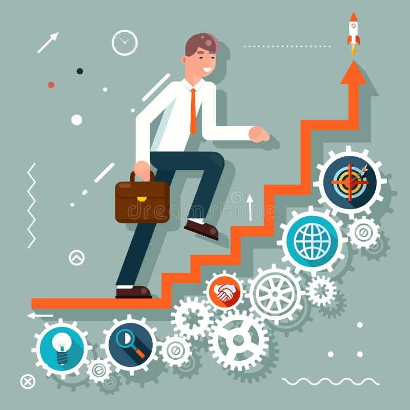 El hombre de negocios Goes de las escaleras de la escalera de Infographic al símbolo del éxito adapta el ejemplo plano del vector ilustración del vector