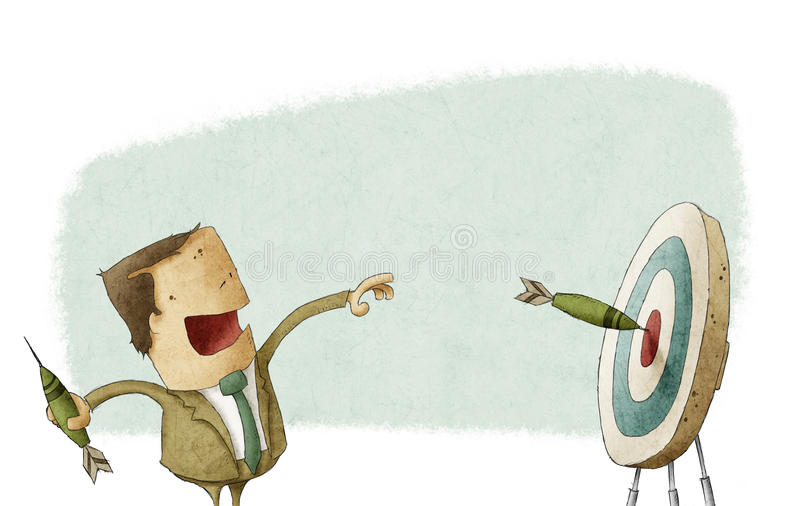 El hombre de negocios golpeó una blanco con los dardos libre illustration