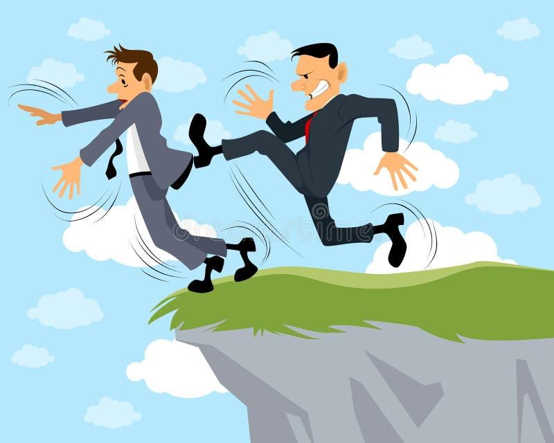 El hombre de negocios golpea otro con el pie libre illustration