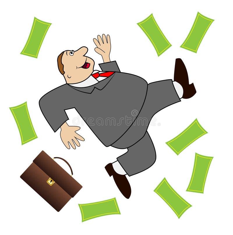 El hombre de negocios grueso está alegre a una porción potente de dinero stock de ilustración