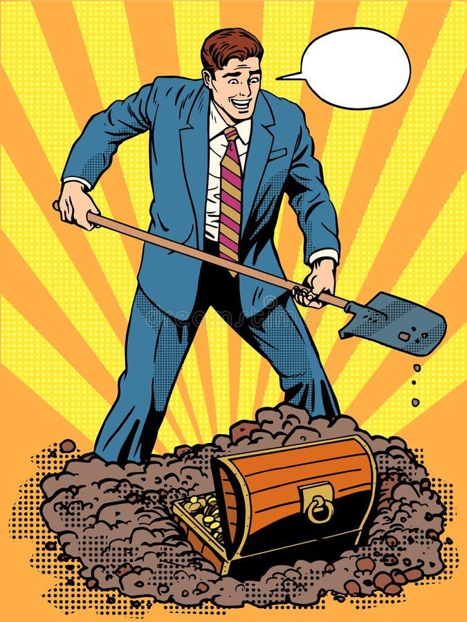 El hombre de negocios ha abierto un cofre del tesoro libre illustration