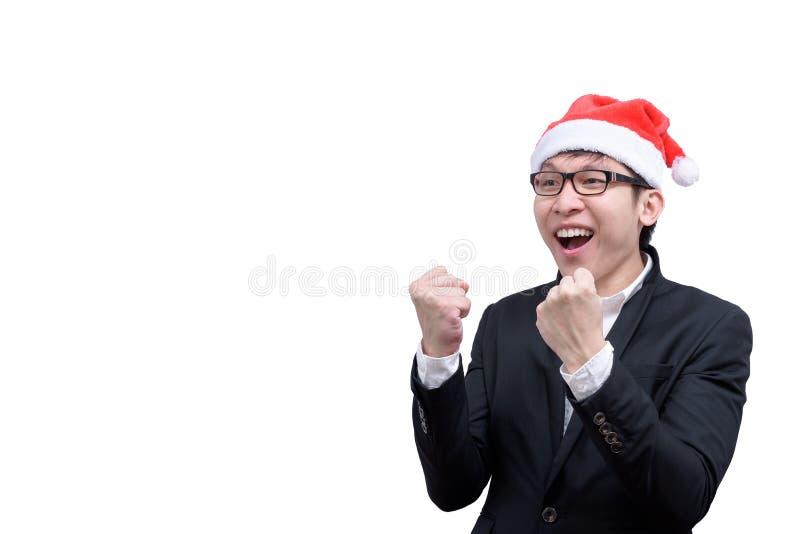 El hombre de negocios ha terminado y éxito con el festival t de la Navidad imagen de archivo