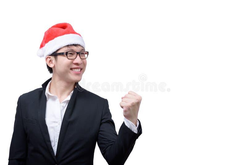 El hombre de negocios ha terminado y éxito con el festival t de la Navidad imagen de archivo libre de regalías