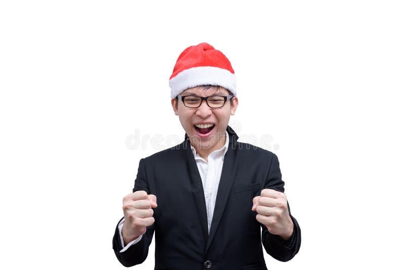 El hombre de negocios ha terminado y éxito con el festival t de la Navidad foto de archivo