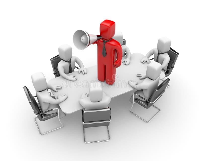 El hombre de negocios habla en megáfono. Liderazgo stock de ilustración