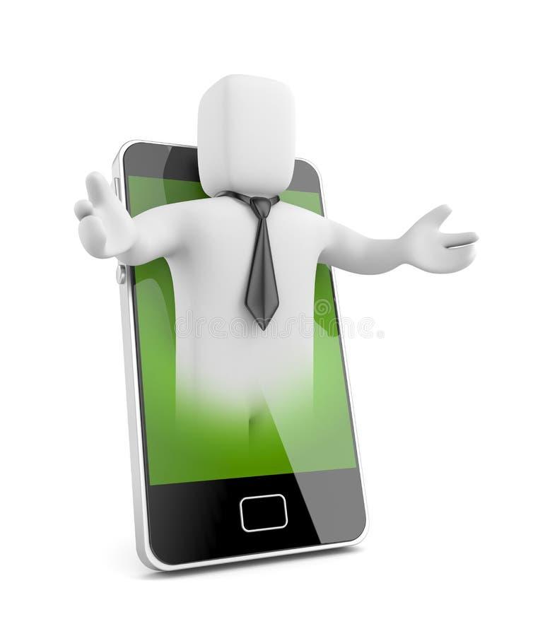 El hombre de negocios hace publicidad del teléfono libre illustration