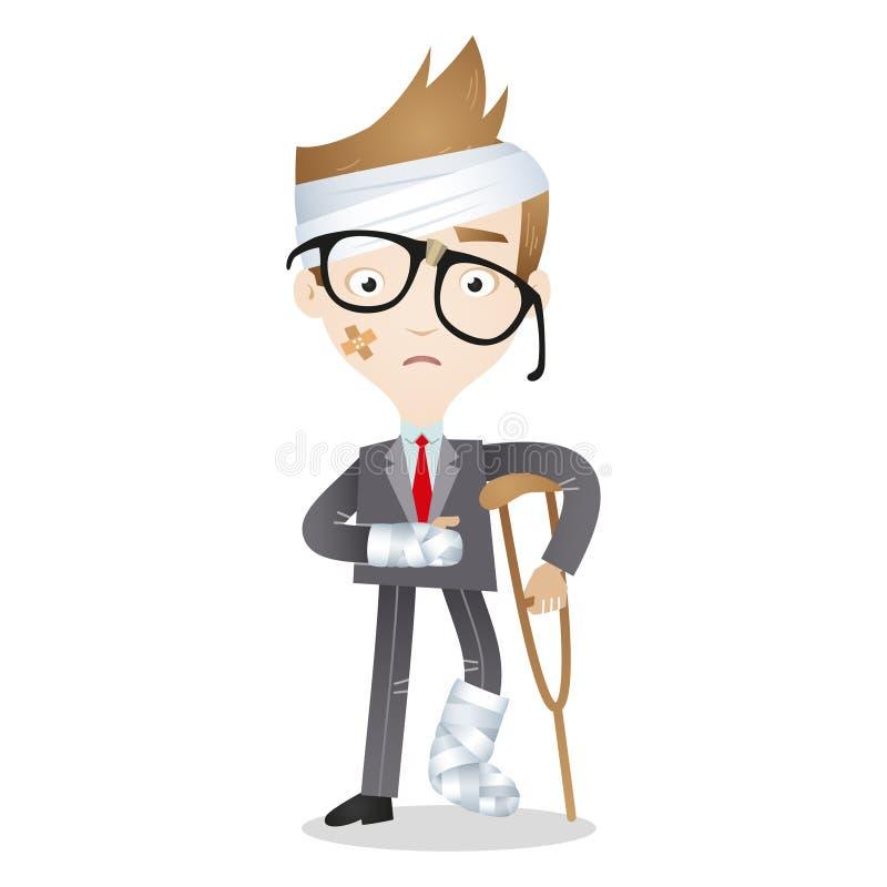 El hombre de negocios herido de la historieta venda las muletas ilustración del vector