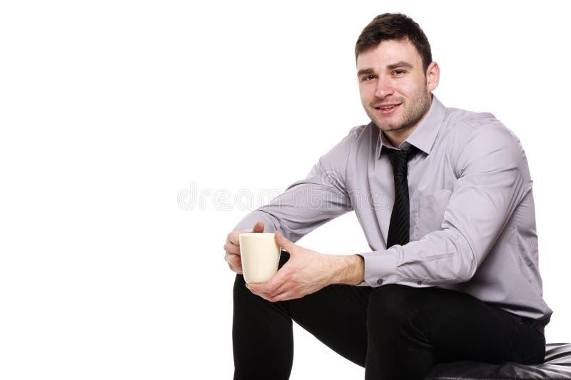 Hombre de negocios aislado en un fondo blanco imagen de archivo libre de regalías