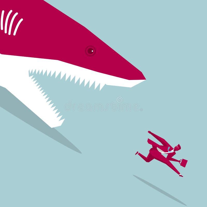 El hombre de negocios huyó del peligro ilustración del vector