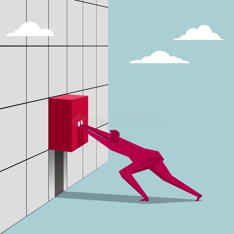 El hombre de negocios instala la caja ilustración del vector