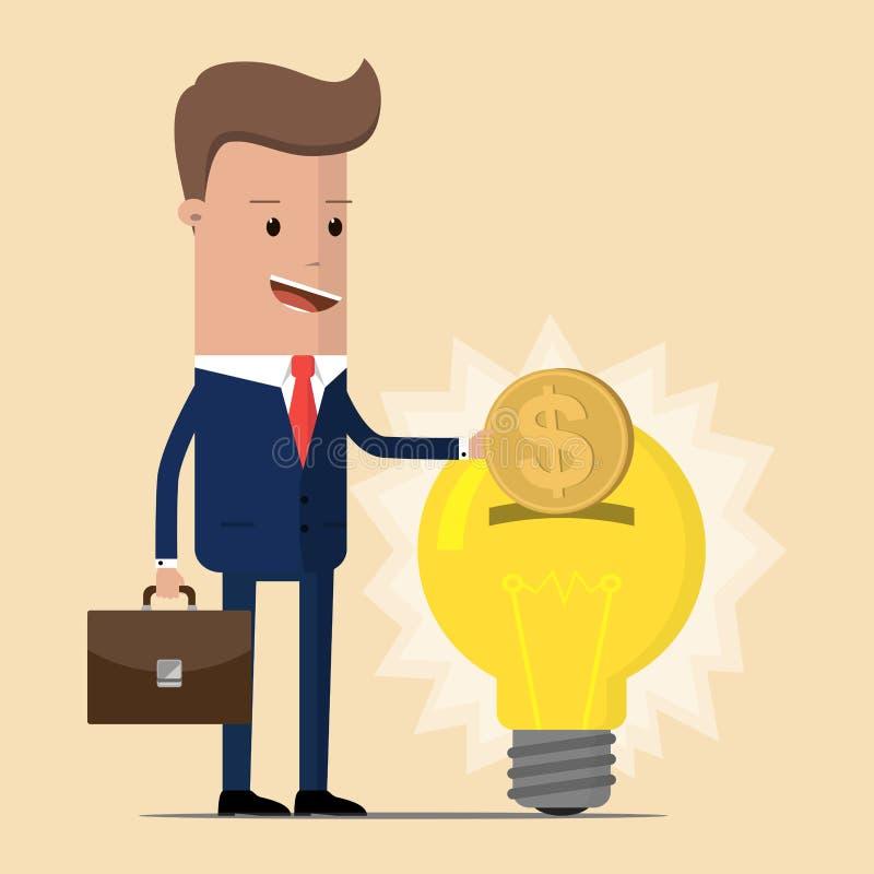 El hombre de negocios invierte el dinero en una idea Concepto de diseño plano de la inversión elegante La idea atrae el dinero Il libre illustration