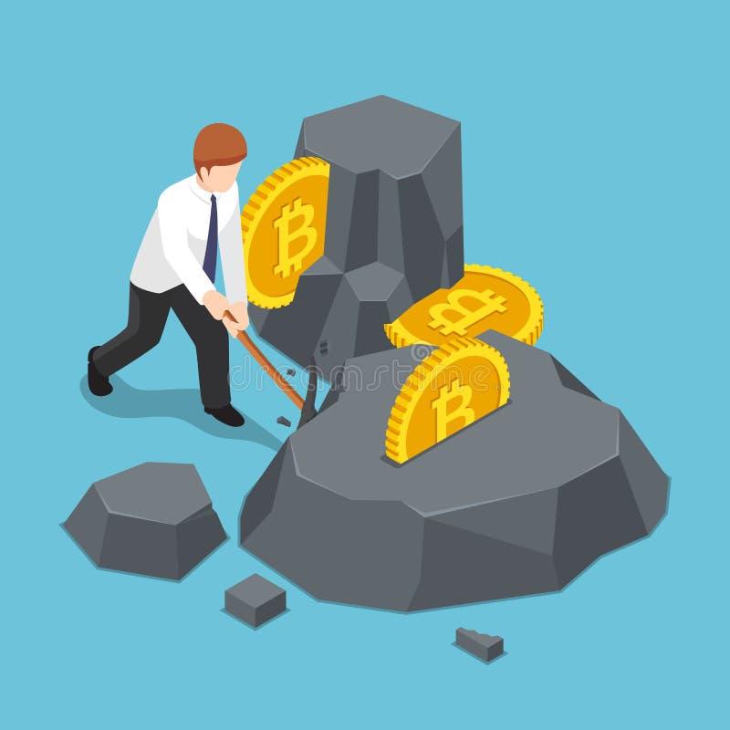 El hombre de negocios isométrico está cavando el bitcoin de la roca libre illustration
