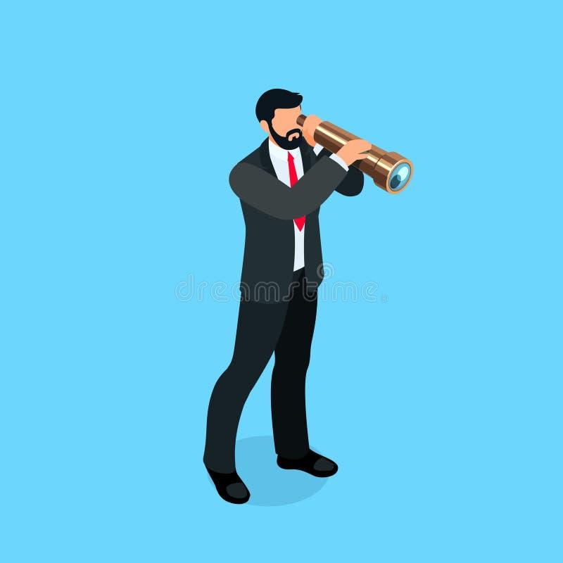 El hombre de negocios isométrico mira en un catalejo ilustración del vector