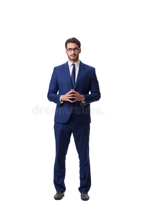 El hombre de negocios joven aislado en el fondo blanco fotografía de archivo libre de regalías