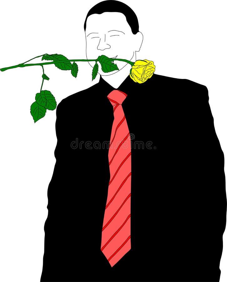 El hombre de negocios joven con se levantó ilustración del vector