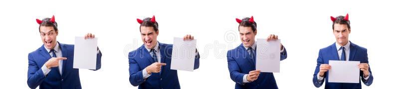 El hombre de negocios joven del diablo aislado en blanco fotos de archivo libres de regalías