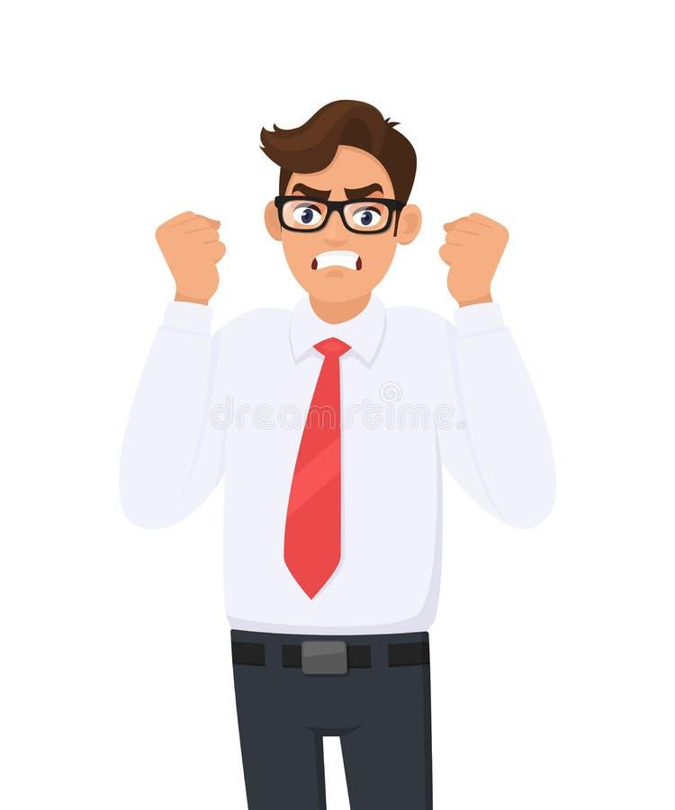 El hombre de negocios joven enojado, frustrado aumentó sus puños de la mano grita/gritando Expresi?n facial malvada, negativa, ma stock de ilustración