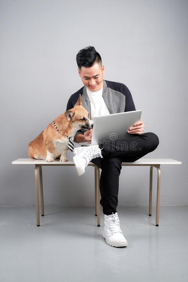 El hombre de negocios joven hermoso está utilizando el ordenador portátil mientras que se sienta con su perro en silla imagenes de archivo