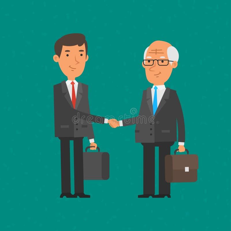 El hombre de negocios joven y viejo sacude las manos libre illustration