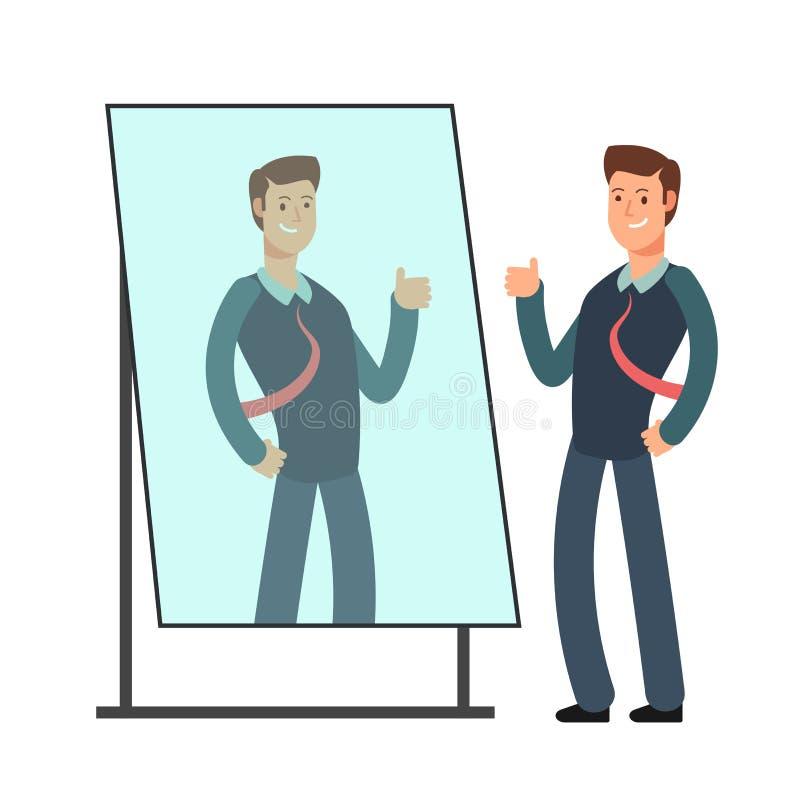 El hombre de negocios de la historieta ama mirar su reflexión en espejo Concepto egoísta del vector de la persona ilustración del vector