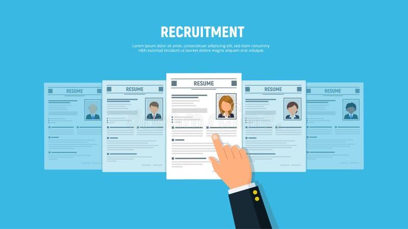 El hombre de negocios de la mano elige a la mujer del curriculum vitae Curriculum vitae de los personales Buscar concepto Gestión ilustración del vector