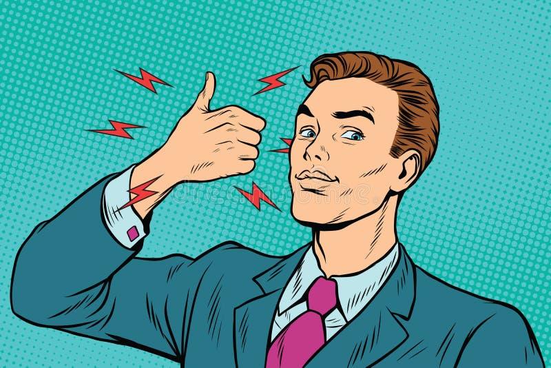 El hombre de negocios le gusta gesto de mano stock de ilustración