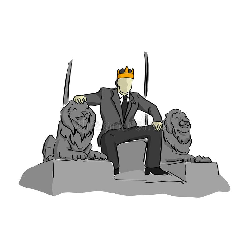 El hombre de negocios le gusta un rey que se sienta en illustrat del vector de la silla del trono stock de ilustración