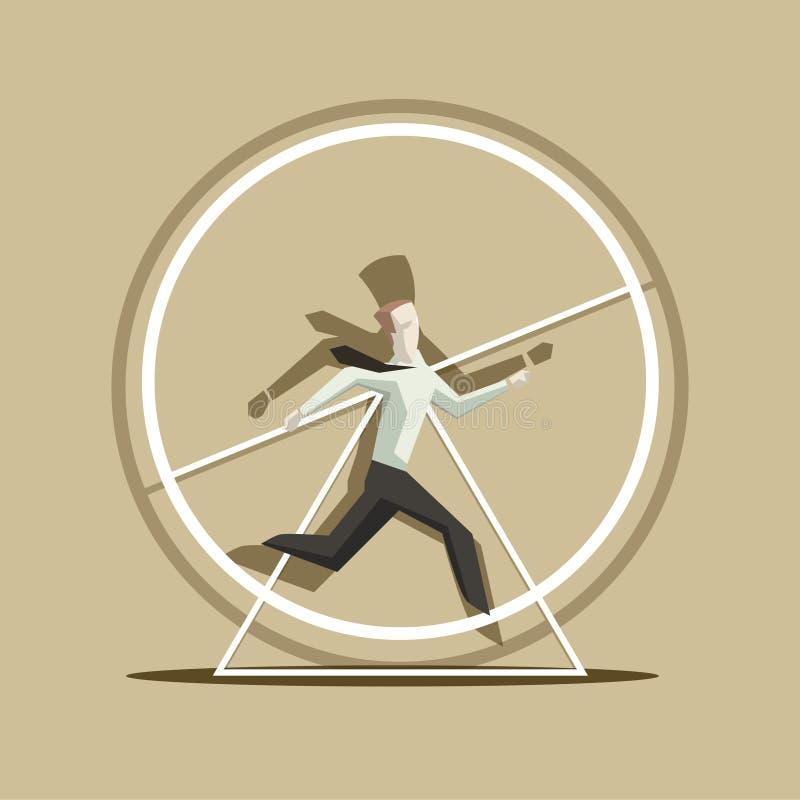 El hombre de negocios le gusta una ardilla en el ejemplo del vector de la rueda stock de ilustración