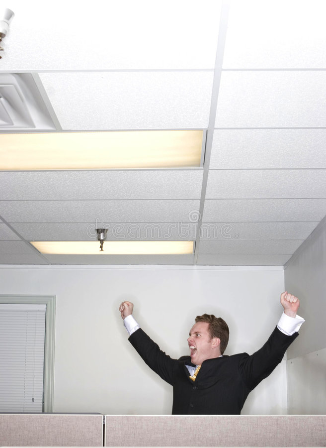El hombre de negocios levanta sus brazos en éxito imagen de archivo libre de regalías