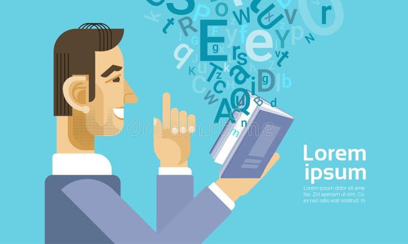 El hombre de negocios leyó al estudiante Study Abstract Background del documento del libro libre illustration