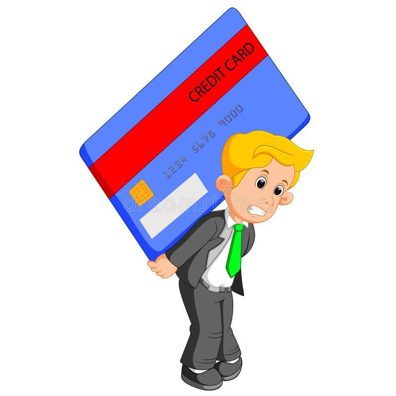 El hombre de negocios llevó a hombros la tarjeta de crédito libre illustration