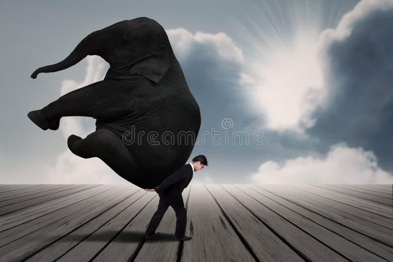 El hombre de negocios lleva el elefante solo debajo del cielo azul fotografía de archivo libre de regalías
