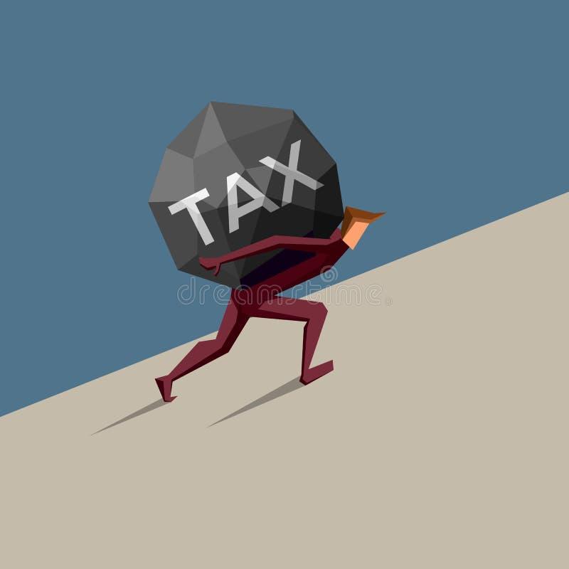El hombre de negocios lleva impuesto pesado cuesta arriba foto de archivo