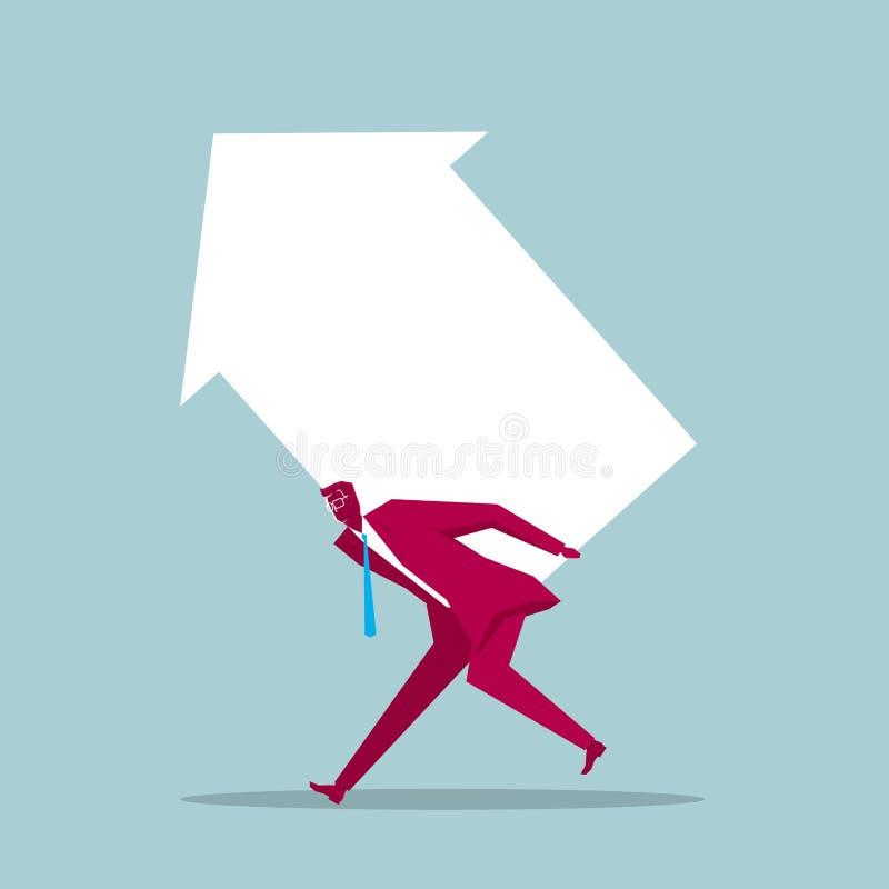 El hombre de negocios lleva la flecha stock de ilustración