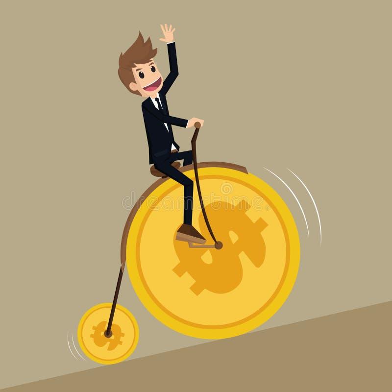 El hombre de negocios lleva la rueda retra de la moneda del dinero de la bicicleta stock de ilustración