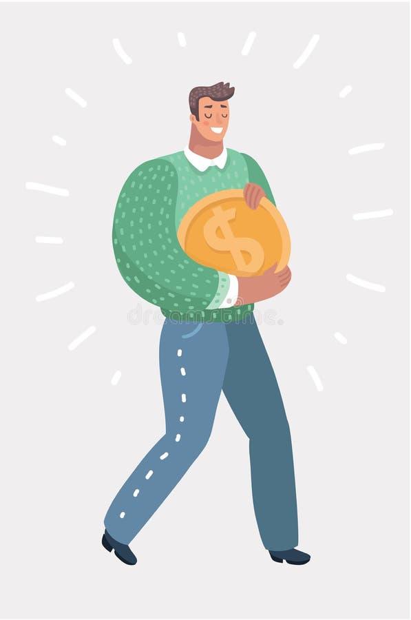El hombre de negocios lleva una moneda de oro enorme ilustración del vector