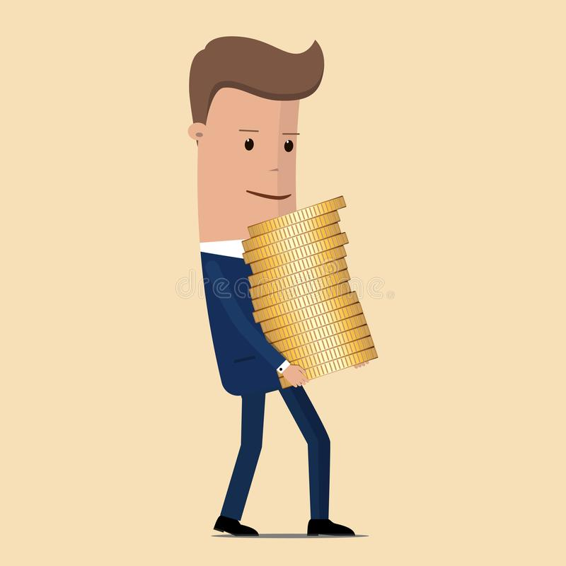 El hombre de negocios lleva una pila de monedas Ilustración del vector libre illustration